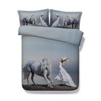 cobertores edredones al por mayor-Ocean Coverlet colcha juegos de cama de caballos Galaxy 3 piezas funda nórdica con 2 fundas de almohada Floral flor cubierta de cama mujeres niñas cubierta del edredón