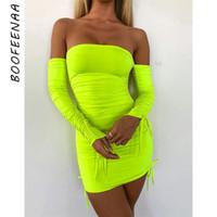 vestido maximo venda por atacado-Boofeenaa Neon Verde Ruched Ombro Manga Longa Bodycon Vestido Sexy Party Night Club Vestidos de Primavera 2019 C66-ac32 Q190417