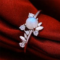 Wholesale moonstones rings resale online - Cute Female Small Round Natural Moonstone Ring Sterling Silver Love Engagement Ring Vintage Leaf Wedding Band Rings