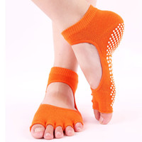mädchen bunte socken großhandel-Frauen Yoga Socken Fünf Zehen Rutschfeste Pilates Socke Hohe Elastische Atmungsaktive Bunte Mode Weibliche Mädchen Gym Fitness Sport Socken