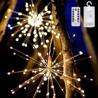 dekoratives feuerwerk großhandel-Weihnachtsbeleuchtung DIY Faltbare Bouquet Form LED Lichterketten Feuerwerk Batteriebetriebene Dekorative 100 led Lichterketten Girlande Patio