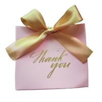 grandes cajas de regalo rosa al por mayor-25Pcs Gracias Impreso PINK Caja de Bolsa de Dulces de Gran Tamaño por Favor Decoración de Regalo / Suministros para Fiestas de Eventos / Favores de Boda Cajas de Regalo