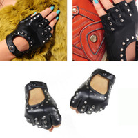 кожаные заклепки оптовых-Long Keeper Women Rivets PU Leather Gloves Semi-Finger Mens Rivet Belt PU Gloves Sexy Cutout Fingerless Female Luva G221