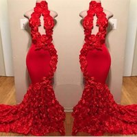 Wholesale handmade flowers mermaid prom resale online - 2019 Red New Hollow out Mermaid Prom Dresses Appliques High Neck Sexy Handmade D Flowers Evening Dresses Sweep Train Satin