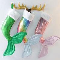 payetler hediye poşetleri toptan satış-Sıcak satış Noel günü dekoratif kolye Mermaid sequins Noel süs çorap Fishtail hediye çantası T9I00105