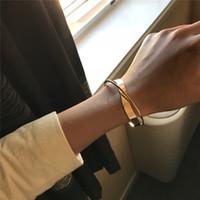 cruces geométricas vintage al por mayor-Brillante de doble capa brazalete pulsera irregular transversal geométrica de la vendimia brazalete abierto de la ondulación de la joyería del partido muchacha de las mujeres de Corea del regalo de la manera