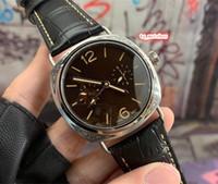 cara de plata reloj deportivo al por mayor-Reloj de pulsera de acero inoxidable para hombre Reloj deportivo superior Reloj de cara negra Reloj con correa de cuero Reloj mecánico automático