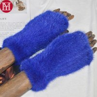 Wholesale knit mittens women resale online - Winter Lady Real Gloves Handmade Real Knitted Fingerless Gloves Women Strong Elastic Mittens