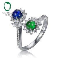 natürliche smaragd-hochzeitsringe großhandel-CAIMAO Natürlicher Cabochon Cut Smaragd und Saphir Halo H SI Brilliant Diamonds Engagement Ehering für Annivesary Finegems