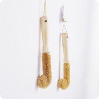 fırça sarı toptan satış-Uzun Sap Fırça Palmiye Fincan Fırçalar Temizleme Yıkama Pot Kase Yemekleri Ev Mutfak Aletleri Ahşap Sarı Uygun 3 8-1 C1
