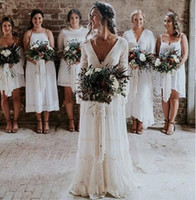 Wholesale long train beach wedding dresses online - 2019 New Bohemian Wedding Dresses V Neck Long Sleeve Lace Sweep Train Beach Boho Garden Country Bridal Gowns robe de mariée Plus Size