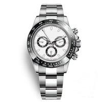 рабочие часы оптовых-Relojes Мужские часы Керамическая рамка Мода Белый циферблат Браслет Складная застежка Мужской Все 3 циферблата работают полнофункциональные наручные часы Часы день