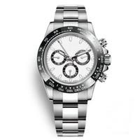 ingrosso orologi di moda-Relojes Orologi da uomo Ceramica Bezel Moda quadrante bianco Bracciale chiusura pieghevole Maschio Tutti e 3 quadranti funzionano Full Function Orologi da polso Orologio Day