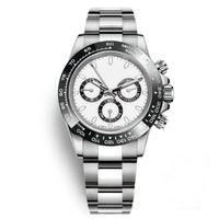 weiße armbänder großhandel-Uhren Herrenuhren Keramik Lünette Mode Weißes Zifferblatt Armband Faltschließe Männlich Alle 3 Zifferblätter Arbeiten Volle Funktion Armbanduhren Clock Day
