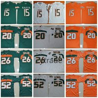 ray lewis jersey branco venda por atacado-NCAA Brad Kaaya Jerseys Miami Furacões Colégio Futebol 20 Ed Reed 52 Ray Lewis Jersey ACC Laranja Verde Branco 26 Sean Taylor S-3XL
