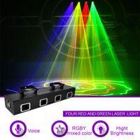 diodo laser azul venda por atacado-4 Lente RGBY Vermelho Verde Azul Misturado Amarelo Diodo Laser 9 CH DMX 512 Scanner de Luzes PRO DJ Discoteca Show de Festa Efeito de Iluminação de Palco 505RGBY