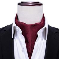 kravat takımları mendil kol düğmeleri toptan satış-Hi-Kravat Lüks Kırmızı Çiçek Ipek Kravat 100% Ipek Dokuma Ascot Kravat Cep Kare Mendil Kol Düğmeleri Takım Set AS-0001