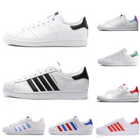 Wholesale plaid sneakers resale online - Original Superstar Stan Smith men women casual shoes green black white blue red pink silver mens fashion leather shoe flats sneakers