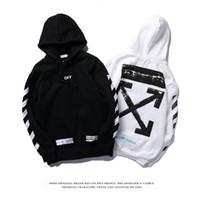 kadife erkekler hoodie toptan satış-Erkek Hoodie Avrupa ve Amerikan Sokak KAPALI Boyalı Ok Crow Eğik Şerit Geniş Saf Pamuk Kadife Hoodie Erkekler ve Kadınlar Aynı Tip