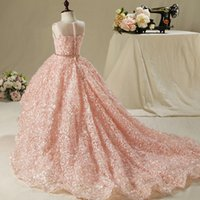 Wholesale applique ball gowns resale online - Vinatage Wedding Flower Girls Dresses Lovely New Blush Pink Tulle Ruffled Handmade Flowers lace ball gown Girl Pageant Dress Cheap
