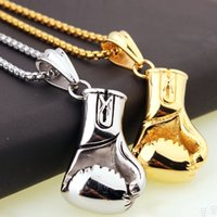 Wholesale glove necklace for sale - Group buy Fashion Sport Fitness Jewelry Stainless Steel Boxing Glove Pendant Necklace Chic Men Hiphop Chain Necklace Cool Male Jewellery