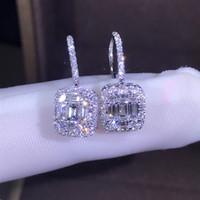 sıcak yeni küpeler toptan satış-Sıcak Satış Yeni 2019 Lüks Takı 925 Ayar Gümüş T Şekli Beyaz Topaz CZ Daimond Kadınlar Düğün Taşlar Lovers 'Hediye Için Küpe Kanca