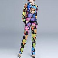 suéteres de boutique de las mujeres al por mayor-Estación europea de comercio exterior 2019 traje boutique con estampado animal suéter + pantalones rectos casuales traje deportivo mujer