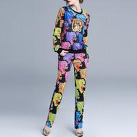 ingrosso donne maglioni boutique-La stazione europea di commercio estero 2019 boutique suit maglione stampa animale + dritto pantaloni casual tuta sportiva donne