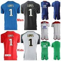 kit de portero jerseys al por mayor-Hombres Jóvenes 2018 2019 Portero Fútbol 30 Mathieu Gorgelin Jersey Olympique Lyonnais Lyon 1 Anthony Lopes Camiseta de fútbol Kit Uniforme