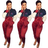 hoodie tulum takımı toptan satış-C Mektup Tulum Kadınlar Uzun Kollu Tek Parça Tayt Romper Hoodies Pantolon Mektup Baskılı Açık Kıyafetler LJJO6683