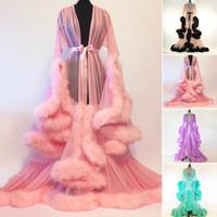 damas de honor vestidos de plumas al por mayor-Mujeres túnica larga vestido de plumas vestido de novia nupcial de la boda de dama de honor de plumas de la ropa interior de la muñeca camisón