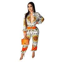 dantel uzun kollu tulumlar toptan satış-Kadınlar Uzun Kollu Kıyafetler Moda Baskılı Lace Up Zarif Geniş Bacak Tulum Ön Fermuar Yüksek Sokak Tulum