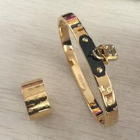 bilezik l toptan satış-Yüksek kalite Marka Takı SET 316 L paslanmaz çelik Pulseira anel Bilezik Bileklik yüzükler Kadınlar Için Altın gümüş gül kilit anahtar Bilezik erkekler