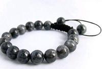 ingrosso perline di shamballa nere-Bracciale da uomo Shamballa 10mm perline nere di giada labradorite nera