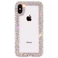 lüks elmaslı elmas toptan satış-Lüks Elmas Tasarımcı Telefon Kılıfları iPhone Xs MAX Xr 6 7 8 Artı Vaka Temizle Rhinestone Glitter Telefon Kılıf için coque Kapak