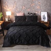 ingrosso biancheria da letto 3pcs-Set di biancheria da letto New Luxury 3pcs nero 4 dimensioni Lenzuolo Copripiumino Imposta regalo copripiumino in fibra di poliestere Home Hotel