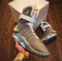 будущие авиамарки оптовых-New Air Mag Повседневная обувь Marty McFly привели обувь Back To The Future Glow In The Dark Gray Boots McFlys кроссовки с коробкой мужской обуви