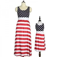 ingrosso vestiti 4 luglio-Mother Kids Dot Print Dress Gonna senza maniche American Flag Independence Festa nazionale USA 4th July Stripe Family Matching Outfit S-3XL