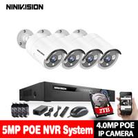 güvenlik hdd toptan satış-4CH 5MP POE NVR Kiti Güvenlik Kamera CCTV Sistemi 4 ADET Kapalı açık POE IP Kamera P2P Video Gözetim Seti ile 2 tb hdd