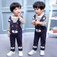 детские ремешки оптовых-Детская одежда Baby Girl Boys Набор одежды Little Bear Stripe Футболка с длинным рукавом + ремни Брюки Набор Детский спортивный костюм 1-4Y