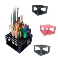 boya tutacağı standı toptan satış-96 delik kalem tutucu Plastik Kalem Fırça Tutucu organizasyon raf masası Kalemler Boya Fırçaları Renkli Kalemler İşaretleyiciler için Organizatör Standı Tutucu