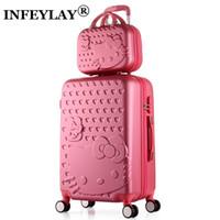 güzel kozmetik çantaları toptan satış-2 ADET / TAKıM Güzel 14 inç Kozmetik çantası hello Kitty 20 24 inç kız öğrenciler tramvay durumda Seyahat bagaj kadın haddeleme bavul