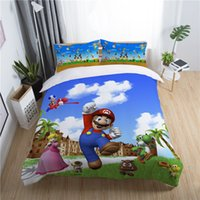 Wholesale king size single beds for sale - Group buy super mario land game boys bedding set king queen double full twin single size bed linen set
