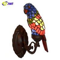 ingrosso luci del pappagallo-Lampada da parete in vetro colorato FUMAT Lampada da paralume in vetro Parrot Art