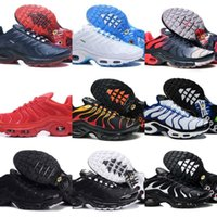 Wholesale hot glitter sneakers resale online - Hot Sell Air Tn Shoes Men New Design Tn Plus Running Shoes Cheap Tn Requin Breathable Mesh Black White Red Basketball Trainer Sneakers