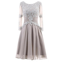 Wholesale chiffon lace melon evening dress for sale - Group buy 2019 Elegant Boho Mother Of The Bride Dresses Lace Chiffon Knee Length Long Sleeves Wedding Guest Dress Short Evening Gowns