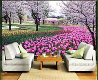 tulipán mural al por mayor-Custom 3D Photo Wallpaper Mural Living Room Sofa TV Telón de fondo Mural Park Landscape flowers tulip Picture Wallpaper Mural Sticker Home Decor