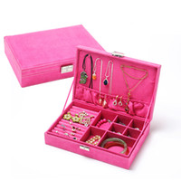 Wholesale big watch necklace resale online - 2019 New Velvet Jewelry Box Big Capacity Jewelry Storage Box for Necklace Earring Watches Portable Jewelry Organizers