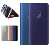 akıllı ayna kutuları toptan satış-OPP Ambalaj iPhone 11 XR XS MAX S10 Not 10 Kapak çevirin Akıllı Kickstand Ayna View için Telefon Kılıfı