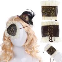 Wholesale mini top hat felt resale online - Vintage Gothic Steampunk Accessories Girl Felt Cosplay Party Steam Punk Gear Blindfold Bracelet Hair Clip Feather Mini Top Hat